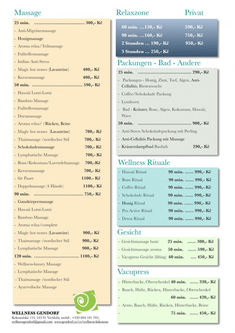 Wellness Bedienste Preisliste